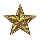 Five-pointed star. Golden five-pointed star on white background Stock Images