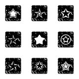 Five-pointed star icons set, grunge style Royalty Free Stock Photos