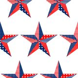 Five-pointed stars pattern on white background, USA national flag colors vector illustration. Five-pointed star pattern on white background with USA flag Stock Images