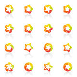 Five-pointed stars. Vector logo template set.