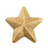 Five-pointed tinsel star isolated Royalty Free Stock Images