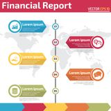 Five points financial report infographic design template. Five points financial report infographic banner template concept for business report Royalty Free Stock Images