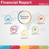 Five points financial report infographic design template. Five points financial report infographic banner template concept for business report Stock Images