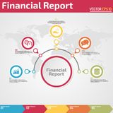 Five points financial report infographic design template. Five points financial report infographic banner template concept for business report Stock Photography