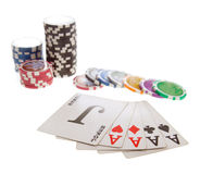 Five poker cards and chips Stock Photos