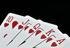 Royal state flush in hearts Royalty Free Stock Image