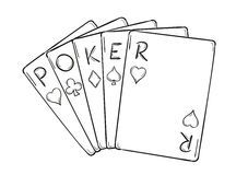 Five poker cards Royalty Free Stock Images