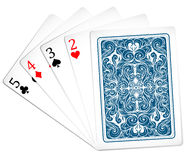 Five poker cards together Royalty Free Stock Photos