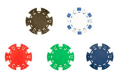 Five poker chips Royalty Free Stock Images