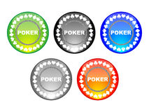 Five poker chips Royalty Free Stock Photos