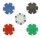 Five Poker Chips. Poker Chips with Copy Space Isolated on a White Background Royalty Free Stock Photography