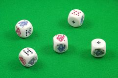 Five poker dice Royalty Free Stock Image
