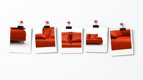Five polaroid blanks. With different parts of red sofa Stock Image