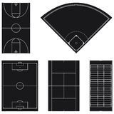Five popular sport field layouts in black Royalty Free Stock Photography