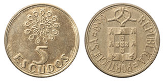 Five Portuguese escudo coin Stock Images