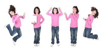 Five Poses of a Child Holding a Blank Sign Stock Image