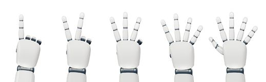 Isolated robot hand counting on white. Five poses of robot hand showing different numbers from one to five royalty free illustration