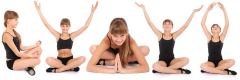 Five poses. Young girl making yoga exercises. Stock Photo