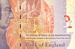 Five Pound Note With Adam Smith Portrait. Closeup detail of UK twenty pound note pound note showing profile of Adam Smith royalty free stock image