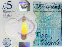 Five pound note. New polymer five pound note Stock Images