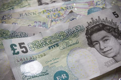 Five pound notes Stock Photos
