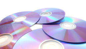 Five  printable dvds isolated on white Royalty Free Stock Images
