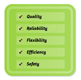 Five priorities of quality. With green marked symbols Stock Images