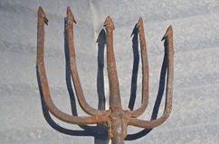 Five pronged old fishing spear Royalty Free Stock Images