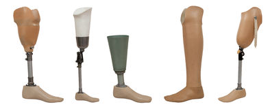 Five prosthetic leg. Isolated on a white background Stock Photo