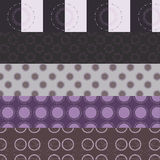 Set of five purple circular patterns Royalty Free Stock Image