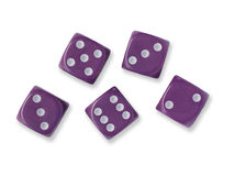 Five Purple Dice Royalty Free Stock Images