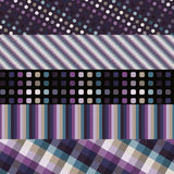 Set of five purple patterns Stock Photos