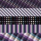 Set of five purple patterns Stock Photos