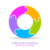 Five puzzle elements circular diagram. Layout Royalty Free Stock Photography