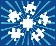 Five Puzzle pieces on blue Royalty Free Stock Images