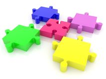 Five puzzle pieces in various colors on white. In background stock illustration