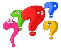 Five question marks. Group of five funny cartoon question marks vector illustration