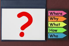 Five Questions Concept. Five questions waiting to be answered.Business concept stock image