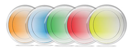 A Five Rainbow colorful buttons for web use Royalty Free Stock Photography