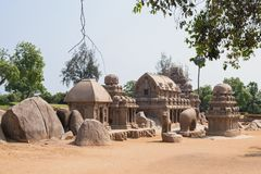 Granite monoliths to honour Hindu gods in Tamil Nadu. The five Rathas, or chariots for the gods, at Mamallapuram all carved from single blocks of granite. These stock images