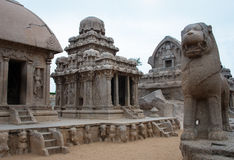 Five rathas complex with  in Mamallapuram, Tamil Royalty Free Stock Photography