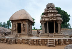 Five rathas complex with  in Mamallapuram, Tamil Stock Image