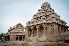 Five rathas complex with  in Mamallapuram, Tamil Royalty Free Stock Image