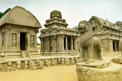 Five rathas complex with  in Mamallapuram, Tamil Nadu, India Stock Images