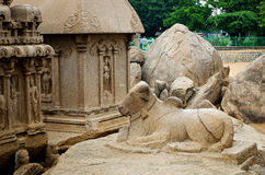 Five rathas complex with  in Mamallapuram, Tamil Nadu, India. Unesco World Heritage Stock Image