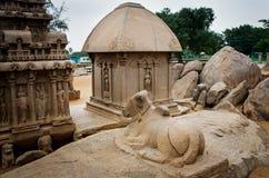 Five rathas complex with  in Mamallapuram, Tamil Nadu, India. Unesco World Heritage Stock Photography