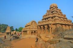 Five Rathas at Mahabalipuram, India Stock Photos