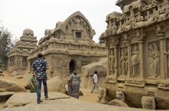 Five Rathas at Mahabalipuram, Tamil Nadu,India,Asia Royalty Free Stock Image