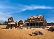 Five Rathas. Mahabalipuram, Tamil Nadu, South India. Five Rathas - ancient Hindu monolithic Indian rock-cut architecture. Mahabalipuram, Tamil Nadu, South India Royalty Free Stock Photos