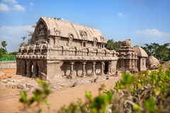 Five rathas in Mamallapuram Stock Photos